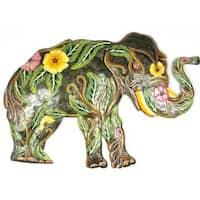 Handmade Painted Flower Elephant Metal Wall Art (Haiti)