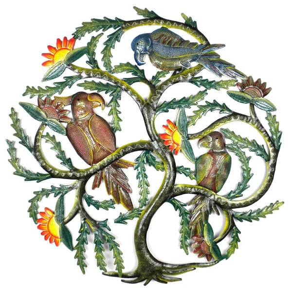 Handmade 24-Inch Painted Tree with Parrots Metal Wall Art (Haiti)