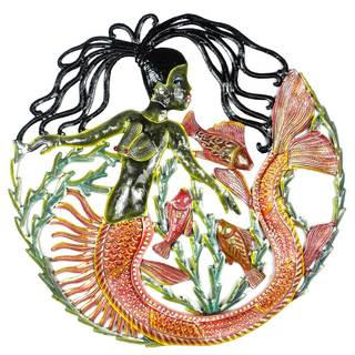Handmade 24-Inch Painted Mermaid & Fish Metal Wall Art (Haiti)