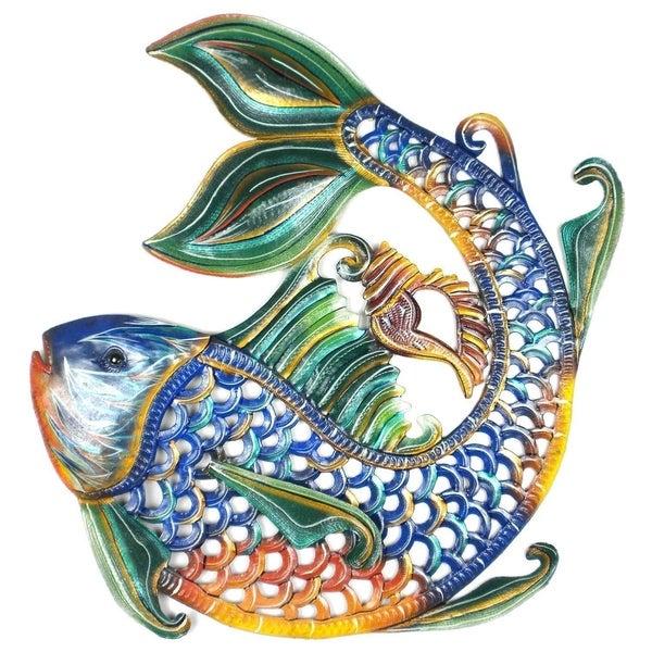 Shop Handmade 24-Inch Painted Fish & Shell Metal Wall Art ...