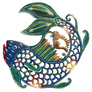 Handmade 24-Inch Painted Fish & Shell Metal Wall Art (Haiti)