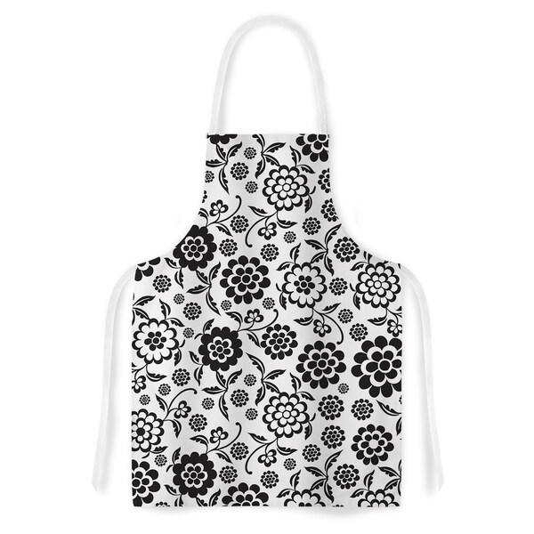 KESS InHouse Nicole Ketchum 'Cherry Floral White' Artistic Apron