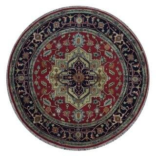 FineRugCollection Handmade Fine Serapi Red Oriental Round Rug - 6' x 6'
