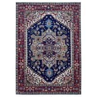 FineRugCollection Handmade Serapi Navy/Red Oriental Wool Rug