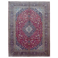 FineRugCollection Handmade Semi-Antique Fine Persian Kashan Red and Navy Oriental Rug (9'7 x 13'1)