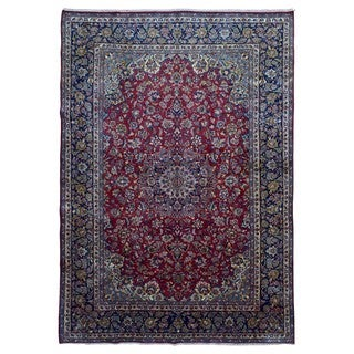 FineRugCollection Handmade Semi-Antique Fine Persian Isfahan Red and Blue Oriental Rug (9'9 x 13'6)