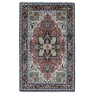FineRugCollection Handmade Heriz Red and Ivory Wool Oriental Rug (6' x 9'3)