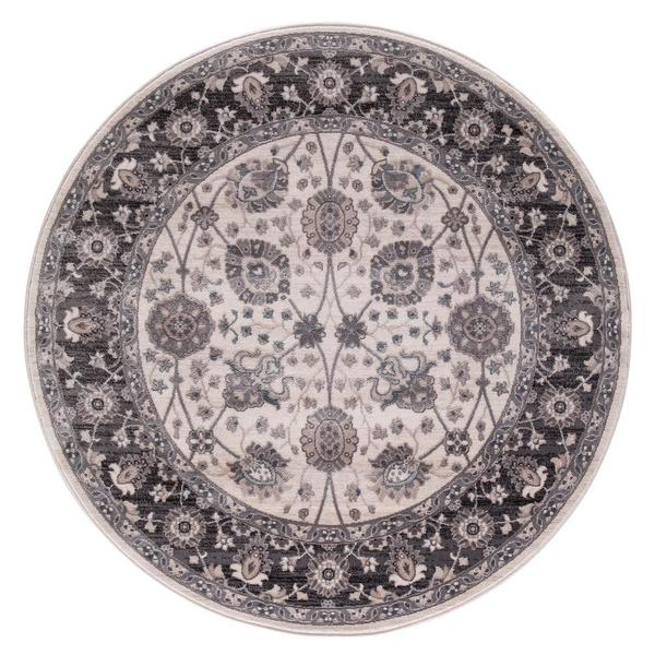 Lacey Collection Val Grey Round Area Rug (7'10x7'10)