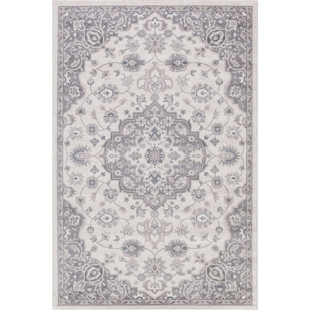 Concord Lacey Collection Cara Ivory/Blue/Grey Rug (6'7 x ...