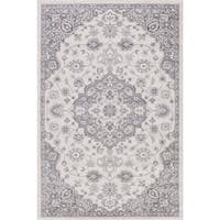 Lacey Collection Cara Ivory/Blue/Grey Rug (6'7 x 9'3)