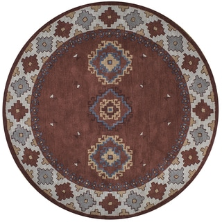Southwest Rust Wool Hand-tufted Round Area Rug (8')