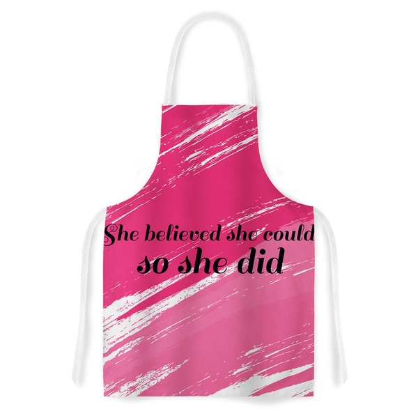 NL designs 'She Did' Pink Illustration Artistic Apron