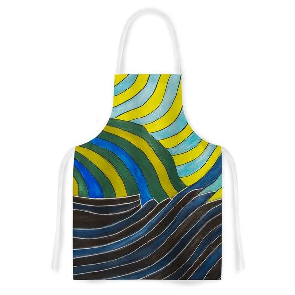 KESS InHouse NL Designs 'Desert Waves' Yellow Blue Artistic Apron