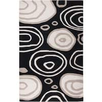 Fusion Black Wool Hand-tufted Round Area Rug - 8' x 8'