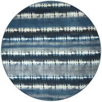 Sorrento Navy Printed Round Area Rug (7'10)