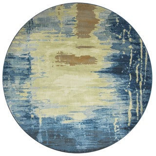 Rizzy Home Sorrento Navy Blue Print Round Area Rug (7'10x7'10)