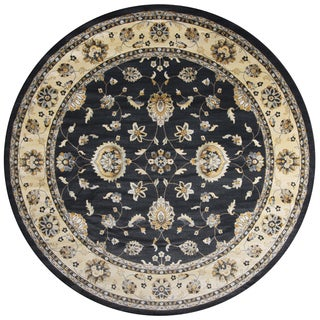 Sorrento Grey/Charcoal Border Round Area Rug (7'10)