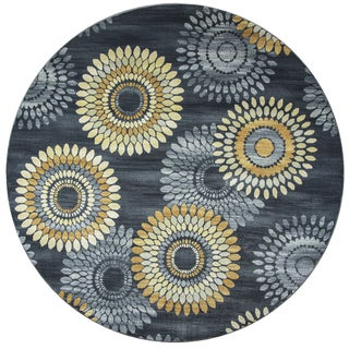 Rizzy Home Sorrento Grey/ Charcoal Medallion Round Area Rug (7'10 Round)