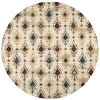 "Rizzy Home Chateau Ivory/Khaki Ornamental Round Area Rug - 7'10"" x 7'10"""