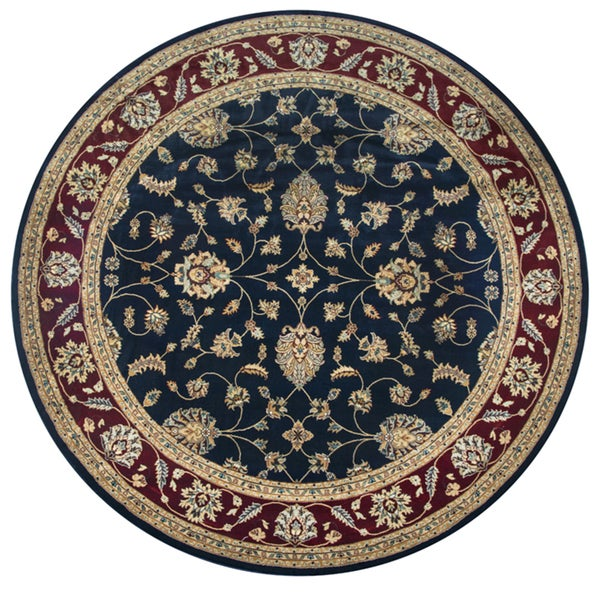 "Chateau Black Border Round Area Rug - 7'10"" x 7'10"""