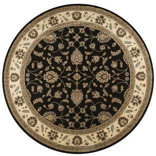 Rizzy Home Chateau Black Border Round Area Rug (7'10)
