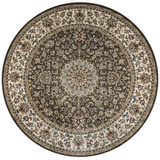 Rizzy Home Chateau Brown Border Area Rug (7'10 Round)