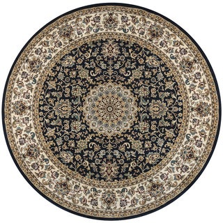 Rizzy Home Chateau Black Border Round Area Rug (7'10 x 7'10)