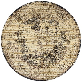 Rizzy Home Bennington Ivory Print Round Area Rug (7'10)