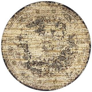 Rizzy Home Bennington Ivory Print Round Area Rug (7'10)