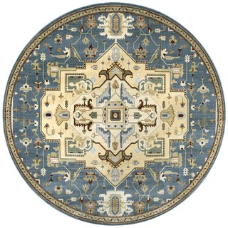 Rizzy Home Bennington Blue Border Round Area Rug (7'10)