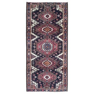 FineRugCollection Handmade Semi-Antique Persian Hamadan Red Oriental Wool Runner (4'5 x 9'8)
