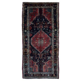 FineRugCollection Handmade Semi-Antique Persian Hamadan Navy Oriental Wool Runner (4'11 x 10'7)