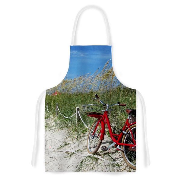 Philip Brown 'A Day At The Beach' Black Red Artistic Apron