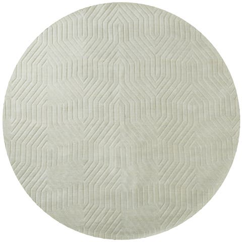 Rizzy Home Light Grey Wool Hand-loomed Solid Round Area Rug (8' x 8') - 8' x 8'
