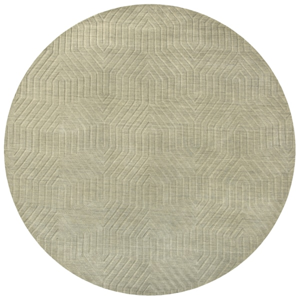 Tan Wool Solid Hand-loomed Round Area Rug (8') - 8' x 8'