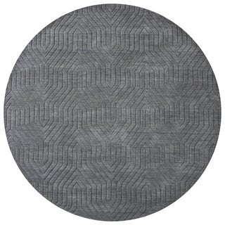 Hand-Loomed Technique Dark Grey Wool Solid Round Area Rug (8-foot)