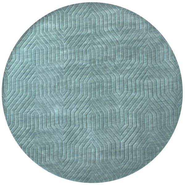 shop rizzy home technique collection hand loomed blue dark teal wool round area rug 8 39 x 8. Black Bedroom Furniture Sets. Home Design Ideas