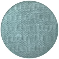 Rizzy Home Technique Collection Hand-loomed Blue/Dark Teal Wool Round Area Rug (8' Round)
