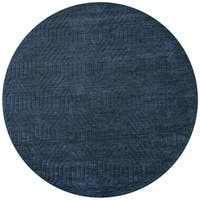 Rizzy Home Hand-loomed Navy Wool Round Area Rug (8')