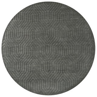 Grey Charcoal Wool Hand-loomed Solid Round Area Rug (8') - 8' x 8'