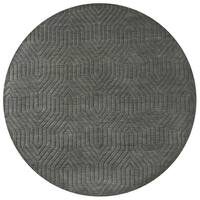 Grey Charcoal Wool Hand-loomed Solid Round Area Rug (8')