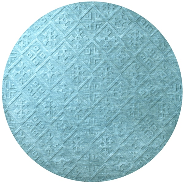 Shop Rizzy Home Technique Blue/Aqua Hand-loomed Wool Area