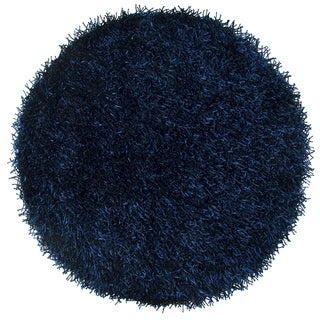 Rizzy Home Kempton Dark Blue Polyester Hand-tufted Solid Round Area Rug (3'x3')