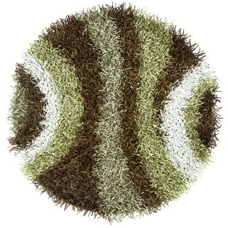 Kempton Multicolored Hand-tufted Striped Round Area Rug (3')