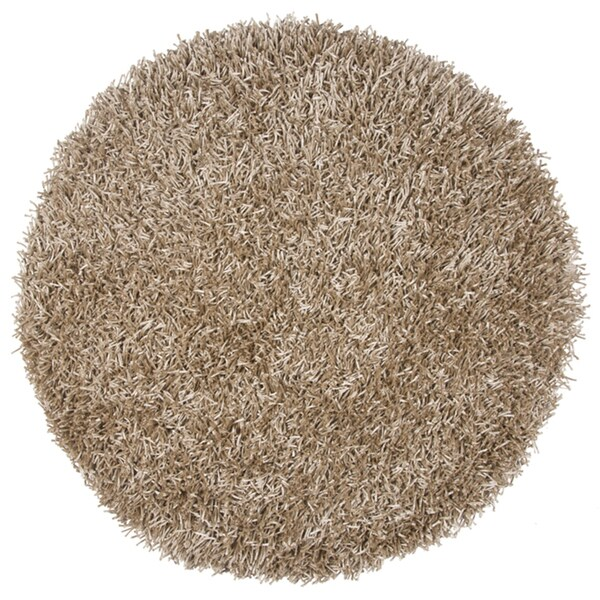 Rizzy Home Kempton Tan Polyester Hand-tufted Solid Round Area Rug (3' x 3') - 3' x 3'