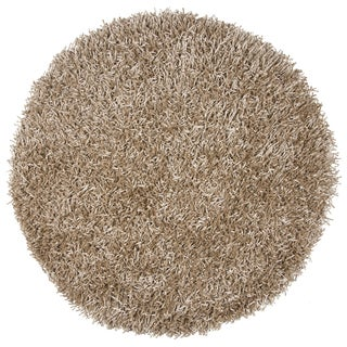 Rizzy Home Kempton Tan Polyester Hand-tufted Solid Round Area Rug (3' x 3')
