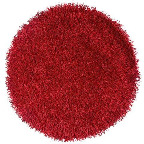 Kempton Red Hand-tufted Solid Round Area Rug (3') - 3' x 3'
