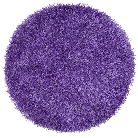 Rizzy Home Hand-tufted Kempton Purple Polyester Solid Round Area Rug (3' Round) - 3' x 3'