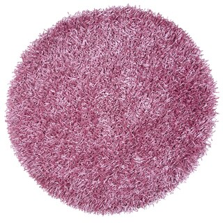 Kempton Pink Polyester Solid Hand-Tufted Round Area Rug (3' Round)