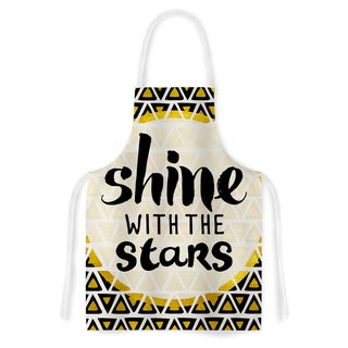 KESS InHouse Pom Graphic Design 'Shine with the Stars' Black Yellow Artistic Apron